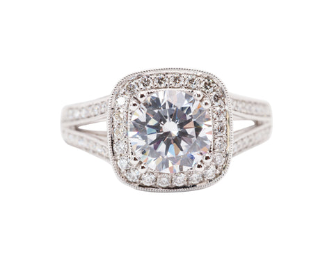 Vintage Inspired Cushion Cut Engagement Ring