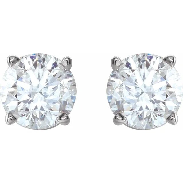 Lab Created 1.00twd 4 Prong Diamond Stud Earrings in White Gold - Silverscape Designs