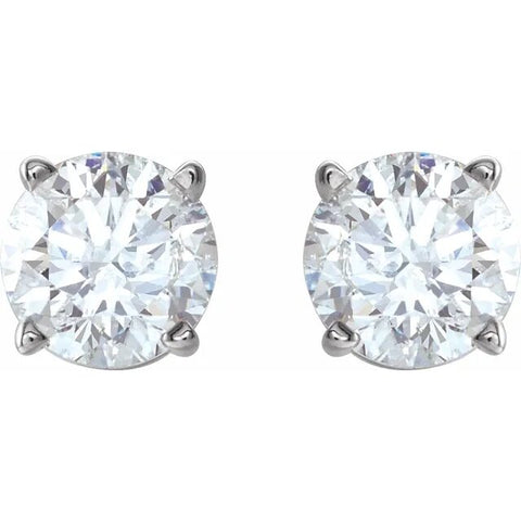 .75twd 4 Prong Diamond Stud Earrings in White Gold - Silverscape Designs