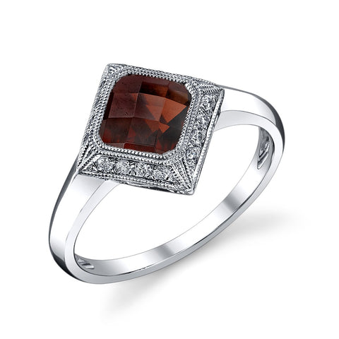 Square Garnet and Diamond Ring