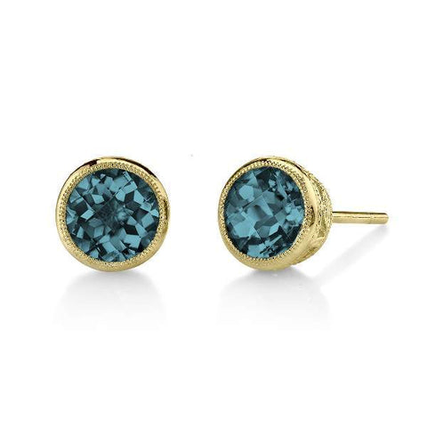 London Blue Topaz Studs in Yellow Gold