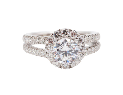 Split Shank Halo Engagement Ring