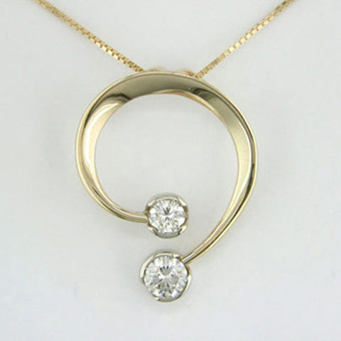 Double Diamond Curl Pendant - Silverscape Designs