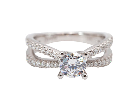 Double Diamond Band Engagement Ring