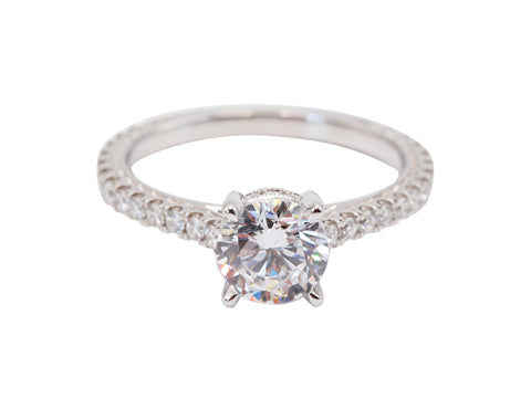 Sylvie Collection 14k White Gold Solitaire Engagement Ring with Side DIamonds