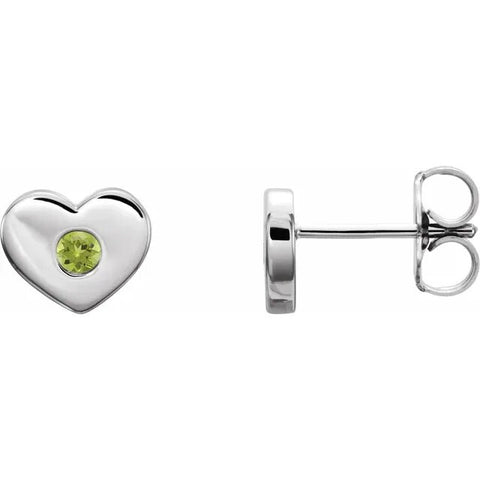 Sterling Silver Peridot Heart Earrings - Silverscape Designs