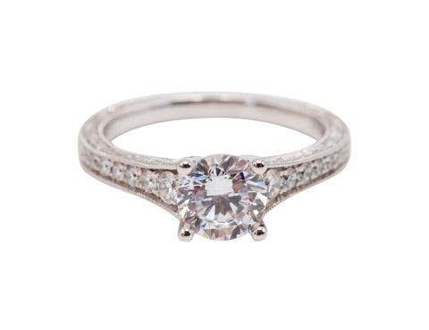 Sylvie Classic Round Brilliant Tapered 14k White Gold .28ctw Side Diamond Engagement Ring