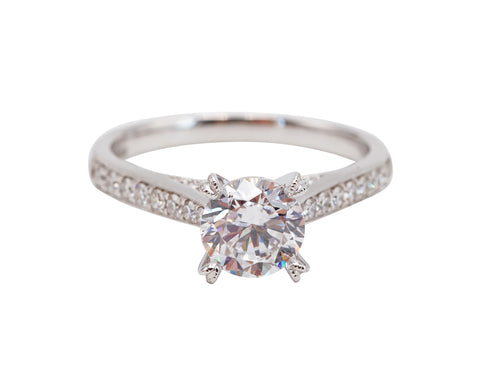 Classic Round Center Milgrain Engagement Ring - Silverscape Designs
