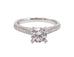 Sylvie Classic Round Center Milgrain 14k White Gold .23ctw Side DIamond Engagement Ring