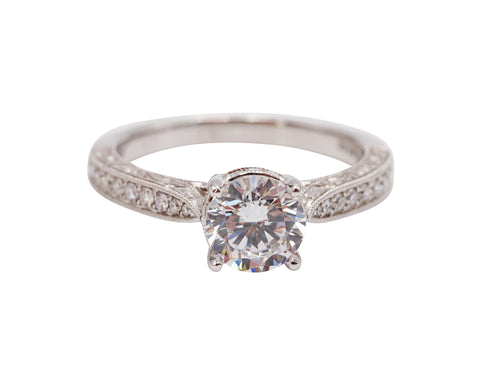 Designer Engraved Solitaire Diamond Engagement Ring