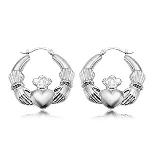 Carla Corporation Sterling Silver Large Claddagh Earrings