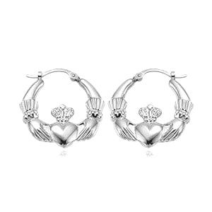 Medium Claddagh Earrings in Sterling Silver - Silverscape Designs
