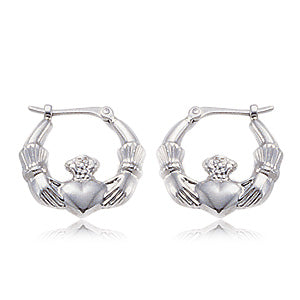 Carla Sterling Small Claddagh Earrings in Sterling Silver - Silverscape Designs
