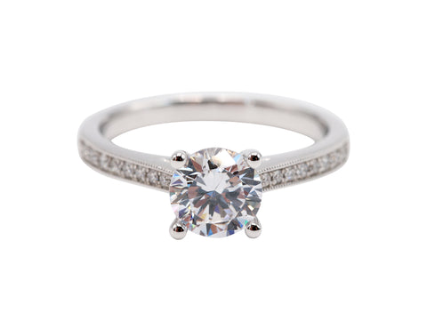 Sylvie Classic Round Brilliant 14k White Gold .13ctw Side Diamonds Engagement Ring