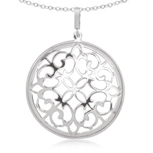 Garden Gate Disc Necklace in Sterling Silver - Silverscape Designs