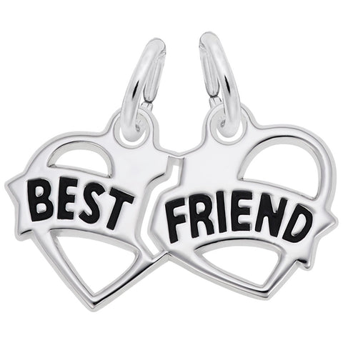Rembrandt Charms Sterling Silver Best Friends Hearts Charm