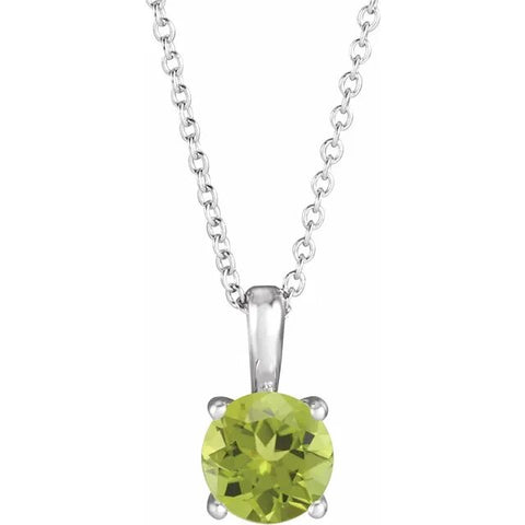 Round Peridot Necklace in Sterling Silver - Silverscape Designs