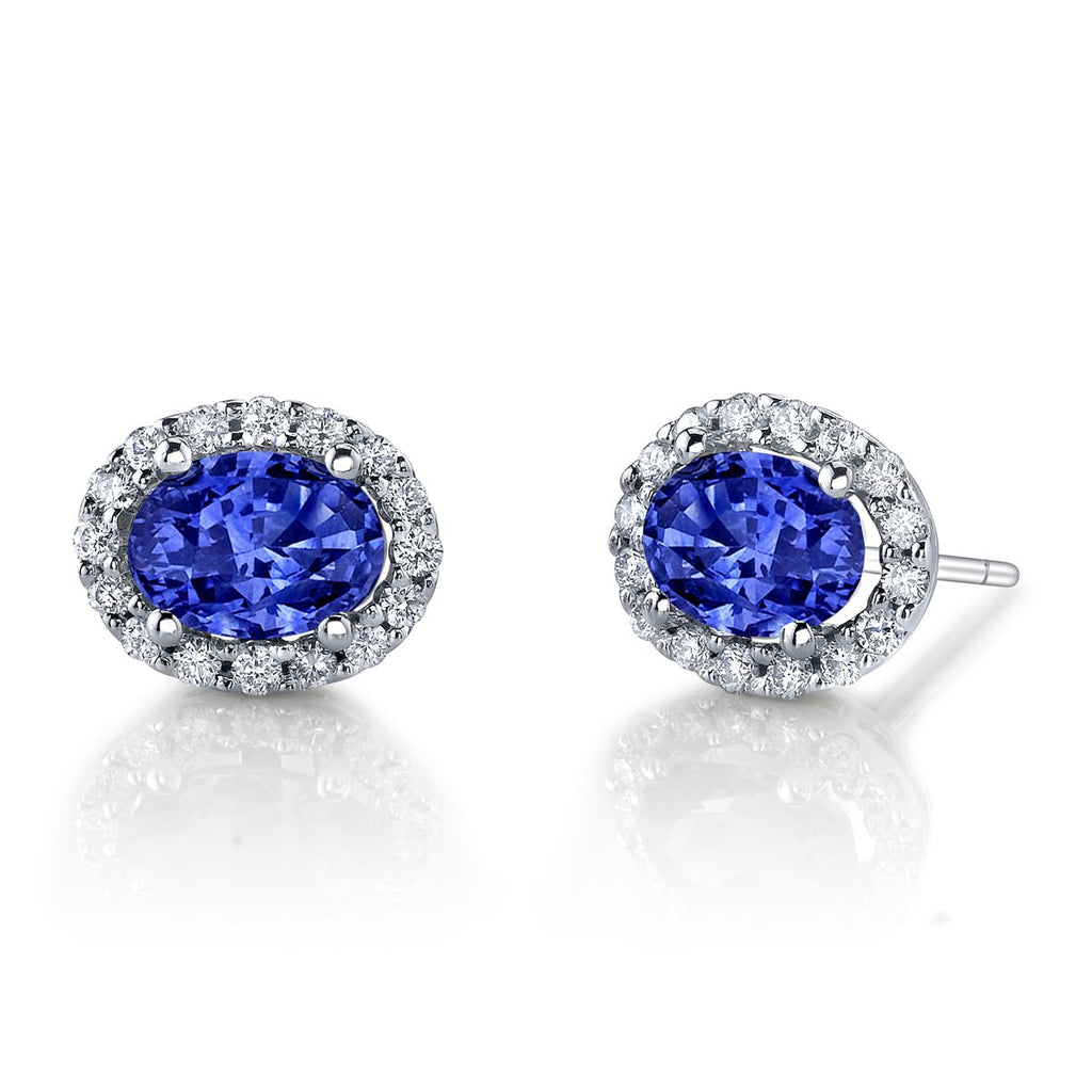 White Gold Sapphire and Diamond Halo Studs
