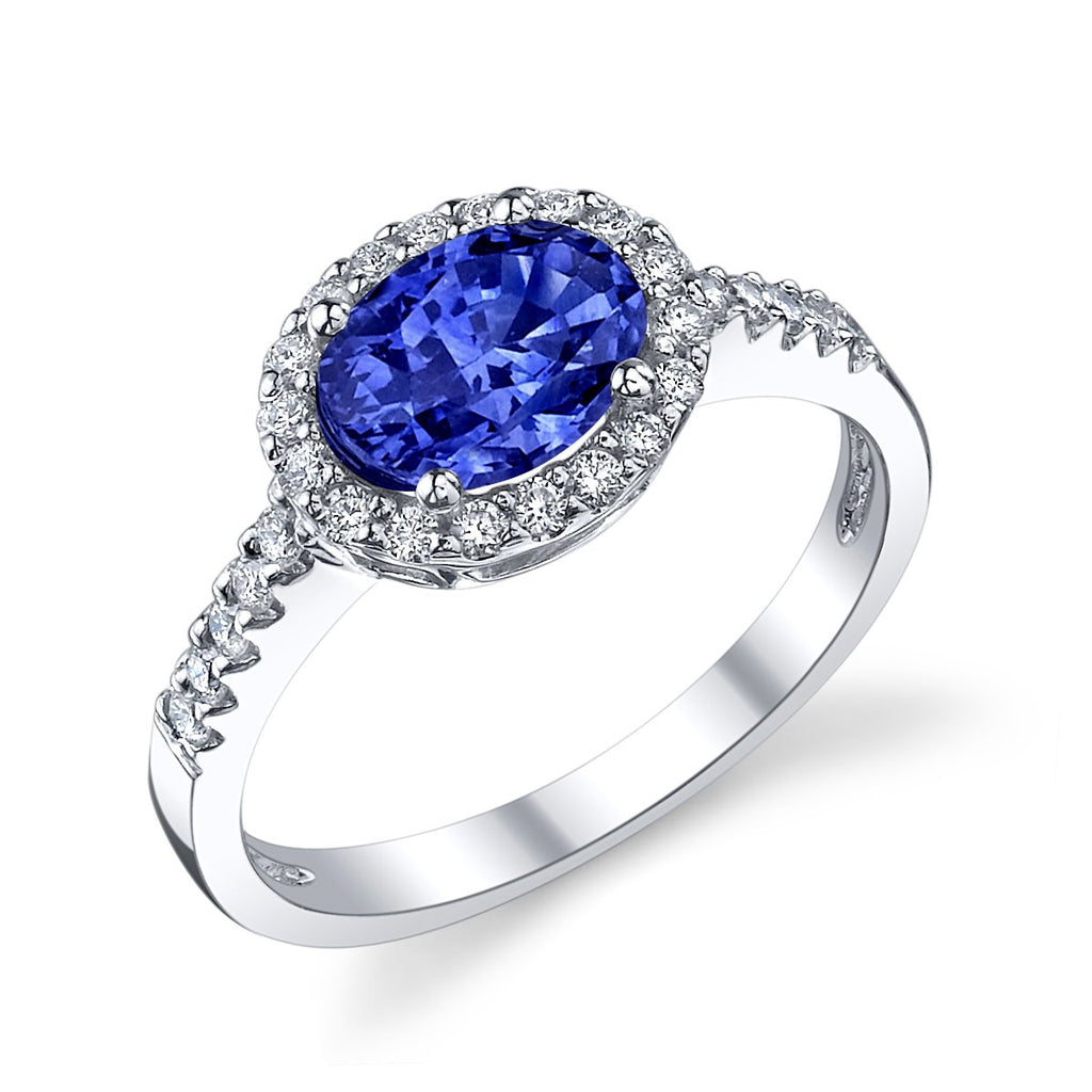 Stanton Color 1.12 carat Oval Sapphire and .33 TCW Diamond Halo Ring