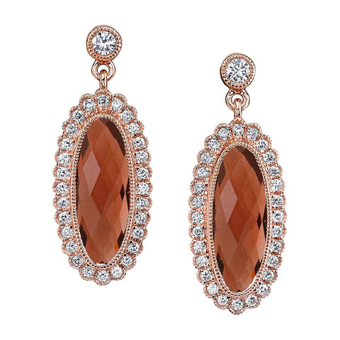 Oblong Garnet Diamond Halo Yellow Gold Dangle Earrings - Silverscape Designs