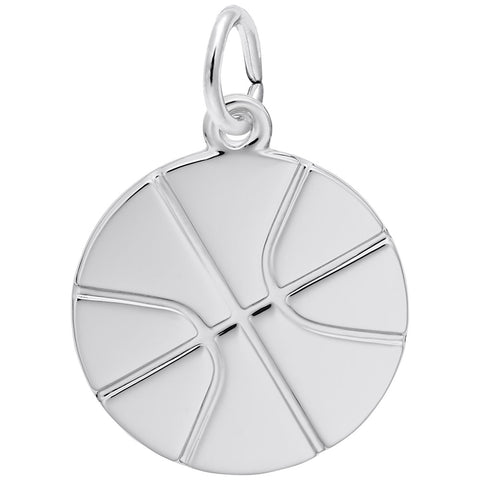 Rembrandt Charms Sterling Silver Flat Basketball Charm