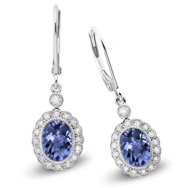 White Gold Tanzanite and Diamond Petal Earrings