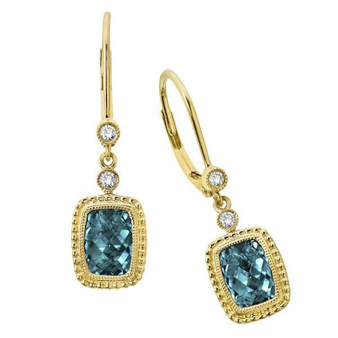 14 Karat Yellow Gold Topaz and Diamond Leverbacks