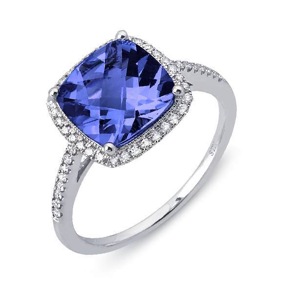 White Gold Tanzanite and Diamond Halo Ring