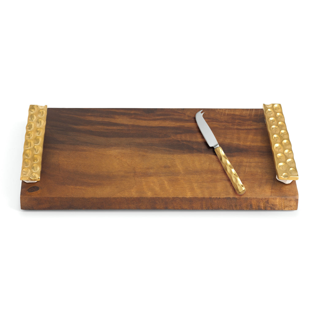 Truro Gold Wood Tray W/ Cheese Knife