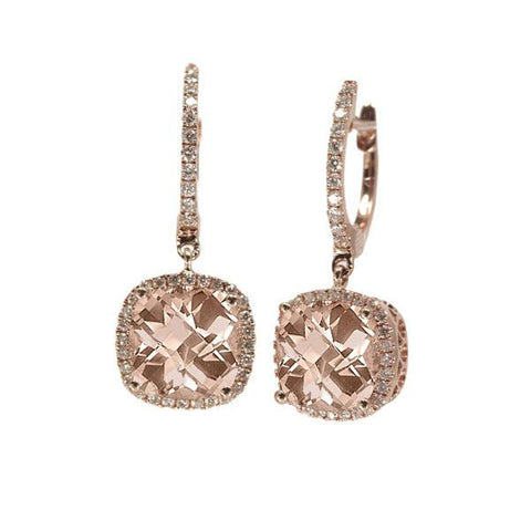 Morganite and Diamond Rose Gold Lever Back Earrings - Silverscape Designs