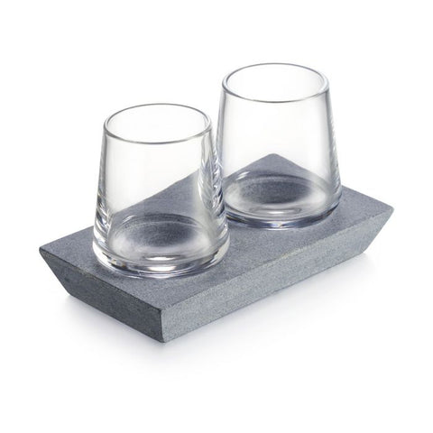 Simon Pearce Alpine Whiskey Glass Set of 2 with Soapstone Base