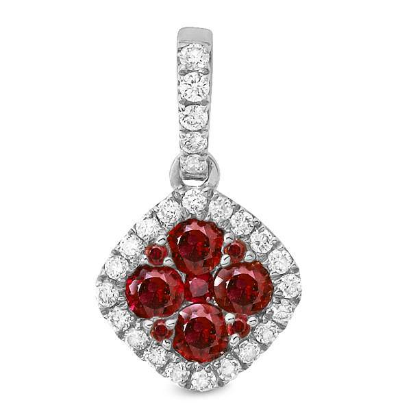 Stanton Color 14k White Gold .38 TCW Ruby Cluster and .13 TCW Diamond Halo Pendant