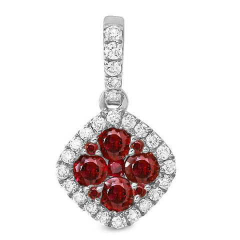 White Gold Ruby Cluster Pendant