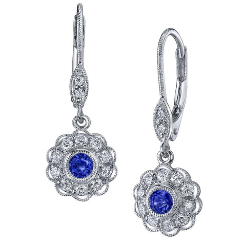 White Gold Sapphire and Diamond Petal Earrings