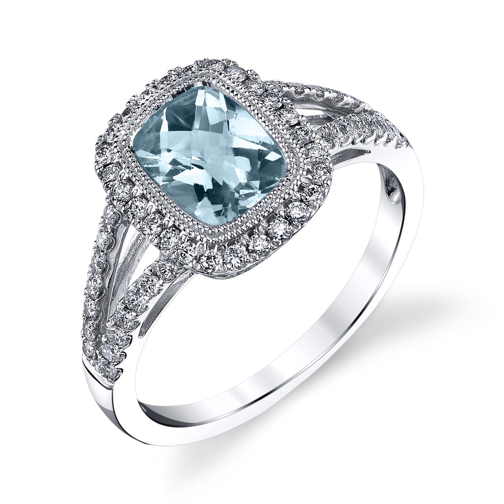 Stanton Color 1.5 carat Aquamarine and .36 TCW Diamond Halo 14k White Gold Ring