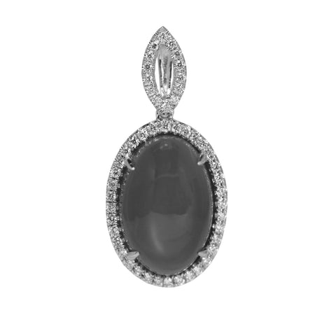 Stanton Color 9.50 Carat Grey Moonsone and .32 Total Carat Weight Diamond 14k White Gold Pendant