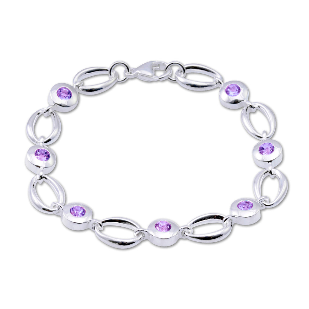 Loop Bracelet with Amethyst - Silverscape Designs