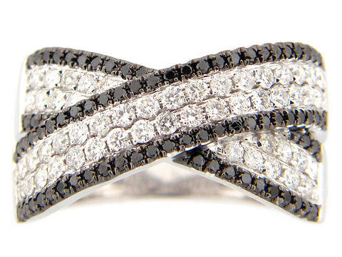 Black and White Diamond Cross Ring in White Gold - Silverscape Designs
