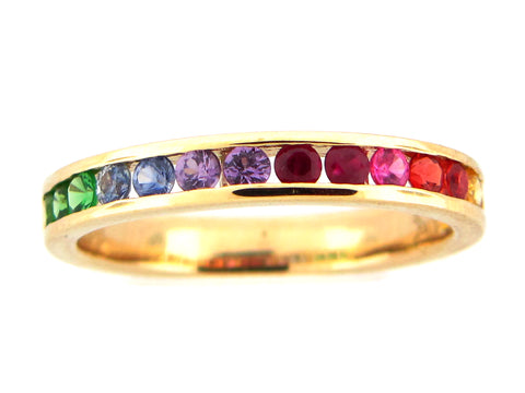 Rainbow Sapphire Ruby and Tsavorite Yellow Ring