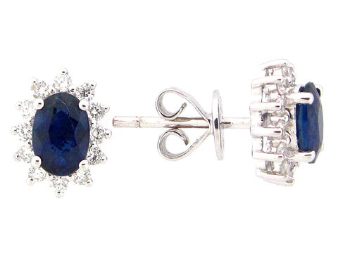 18 Karat White Gold Blue Sapphire and Diamond Burst Stud Earrings