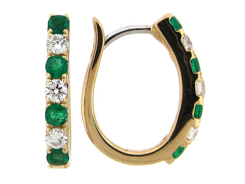 Emerald and Diamond Yellow Gold Hoop Earrings - Silverscape Designs
