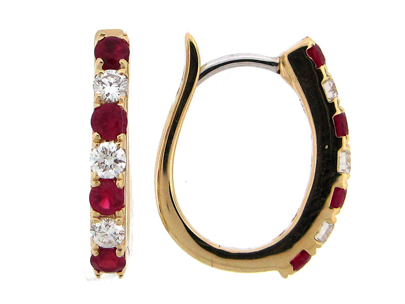 Ruby and Diamond Yellow Gold Hoop Earrings - Silverscape Designs