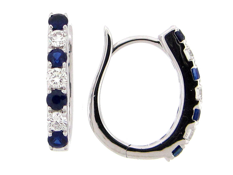 Sapphire and Diamond White Gold Hoop Earrings - Silverscape Designs