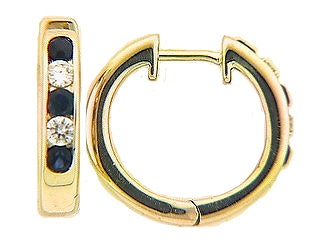 Dilamani 14 Karat Yellow Gold Diamond and Blue Sapphire Hoop Earrings