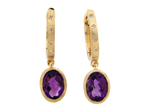 Oval Amethyst and Diamond Yellow Gold Drop Earrings