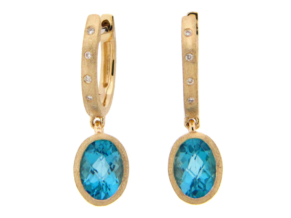 Swiss Blue Topaz and Diamond Yellow Gold Drop Earrings - Silverscape Designs