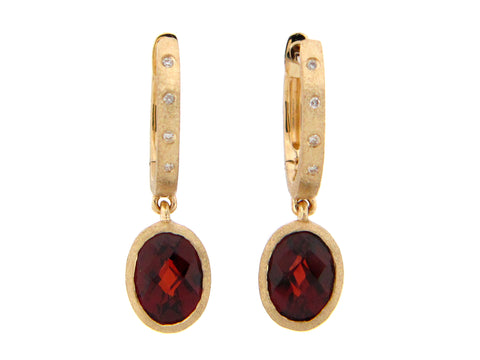 Garnet and Diamond Drop Earrings - Silverscape Designs