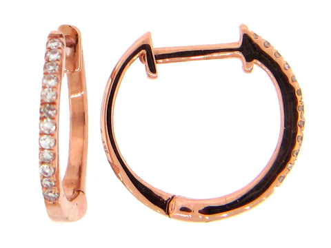 Diamond Small Huggie Rose Gold Hoop Earrings - Silverscape Designs