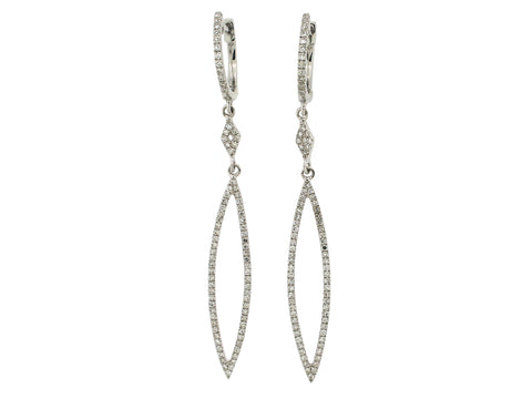 Diamond Oblong White Gold Dangle Earrings - Silverscape Designs
