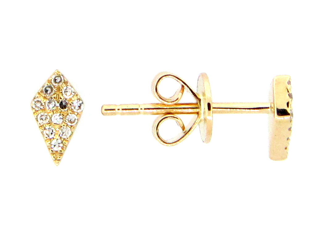 Diamond Yellow Gold Kite Stud Earrings - Silverscape Designs